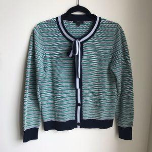 J. Crew Dot Lady Neck Tie Bow Cardigan Sweater M